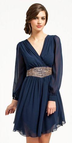 Little Mistress Navy Long Sleeve Cutout Detail Embellished Waist Dress Trendy Dresses, Cute Dresses, Beautiful Dresses, Short Dresses, Prom Dresses, Formal Dresses, Dress Prom, Dress Wedding, Dress Skirt