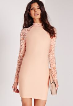 3779665163530 Missguided - Lace Long Sleeve Bodycon Dress Nude Nude Dress, Nude Bodycon  Dresses, Missguided