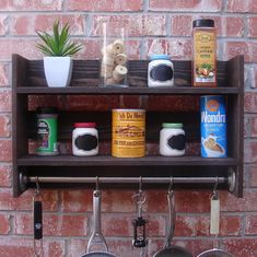 Industrial Rustic Kitchen Wall Shelf Spice Rack w/ Pot by KeoDecor, $135.00