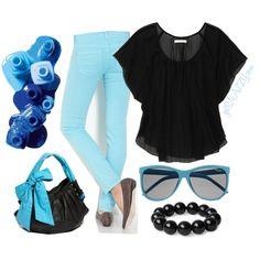 Black & Blues (Colored Denim) Quick Outfit -