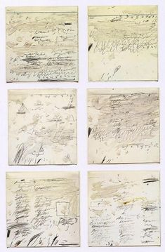 Cy Twombly ~ Poems to the Sea i-vi, 1959 (oil, graphite, wax crayon on paper) Creation Image, John Berger, Poesia Visual, Art Ancien, Wax Crayons, Robert Rauschenberg, Famous Artists, Medium Art, Oeuvre D'art