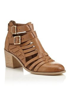 House of Fraser - Miss Selfridge - AUGUST Strap Cut Out Boot - in Tan --- Was £69 - Then £35 --------------------- Now £30