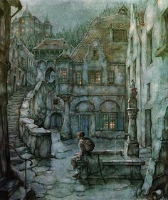Narrative Spark: 'The staircase beckoned. How long must he wait there?' (The Art of Anton Pieck.)