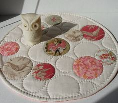 Handmade Table Topper Quilted Cotton Bubbles by QuiltShenanigans