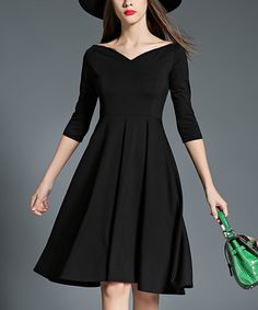 Look what I found on #zulily! Black Portrait Collar Fit & Flare Dress #zulilyfinds
