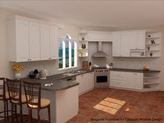 terra cotta tile flooring and gray countertops   RECOMMENDED PALETTE and MATERIALS - KITCHEN