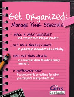 Manage your schedule to get more things done! #SchoolAdvice #Staying #organised