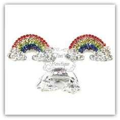 This Gorgeous Rhinestone Rainbow Embellishment is perfect for all your Projects! Sparkling Rhinestones adorn the surface of this metal slider embellishment. Measuring 23mm x 13mm, these stunning embellishments are perfect on headbands, Hair Bows, flower centers, cake decorations, invitations, scrapbooking, party favors, bouquets, picture frames and so much more! You can choose quantities of 1, 2, 5 or 10. The other option is for the metal plating. You can choose between the gold color…