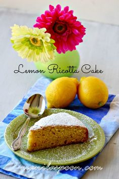 Lemon Ricotta Cake - light and moist and with a sweet-tangy-cheesy yumminess in every bite!