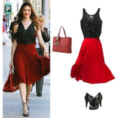 Emmy Rossum's ravishing in red! LOVE this skirt with the top!