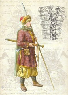 Closeup of caftan closures, Old Russian warrior: Cossack - so late/post period (the shovary pants give it away) but good drawing of the closures; those do apply to within SCA period. Larp, Military Costumes, Viking Reenactment, Viking Clothing, Norse Vikings, Russian Folk, Historical Images, Dark Ages, Anglo Saxon