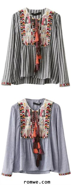 Vertical Striped Embroidery Tie Blouse