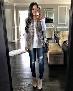 Flat Lays Come To Life Fall denim outfit Vest Outfits For Women, Fur Vest Outfits, Denim Outfit, Clothes For Women, Leopard Outfits, Cute Dress Outfits, Look Fashion, Autumn Fashion, Fashion Outfits