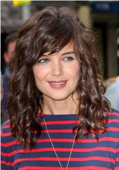 Wavy wispy front bangs with Medium curly hair