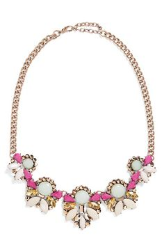 Free shipping and returns on ROVE + PEARL Crystal Statement Necklace at Nordstrom.com. Clusters of faceted crystals sparkle on a colorful statement necklace set on a bright golden chain.