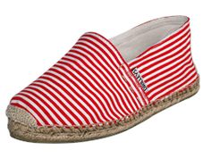 Womens Red and white stripes Espadrilles => perfect for walking around campus on sunny Spring days.