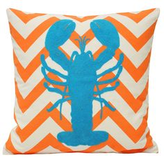 Malibu Lobster Cushion Cover, Orange & Blue
