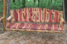 5' Live Edge Cedar Porch Swing  Log Porch Swing  by PovertyGulch