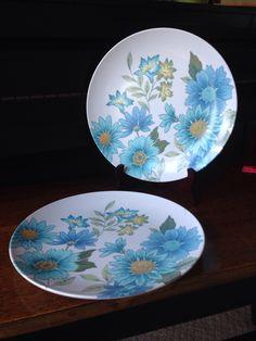 Beverly Prolon Melamine Retro blue turquoise flower plates - set of 2 by shhhitsvintage on Etsy https://www.etsy.com/listing/386294560/beverly-prolon-melamine-retro-blue