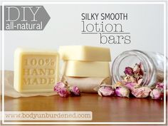 DIY all-natural lotion bars½ cup coconut oil (I used refined coconut oil since it has less scent. But if you prefer a coconuty scent, choose unrefined coconut oil.) ½ cup shea butter, cocoa butter, or mango butter ½ cup beeswax pastilles or shredded beeswax OR 4 1 oz beeswax bars 25 drops essential oils of choice (I used rose, geranium, and ylang ylang for an uplifting, floral combination)