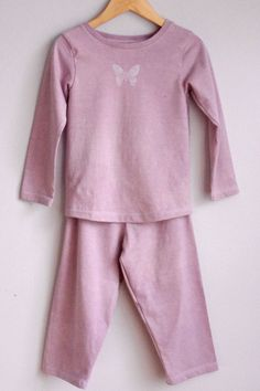 Long sleeve 2 piece set or pajama for toddlers in 100% organic cotton dyed with natural products by CatherineSoucy on Etsy