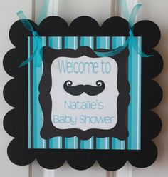Boy Baby Shower Mustache Theme | Door Sign Hanger Mustache Bash Little Man Baby Shower Theme - Party ...