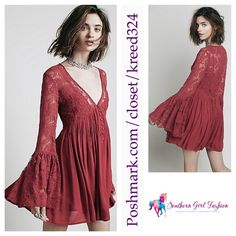 FREE PEOPLE Lace Dress Bell Sleeve Cocktail Mini Size Large. New with tags. $128 Retail + Tax.  Stunning dark pink dress with sheer floral mesh bodice.  V neckline with button closure detailing.  Lined with a removable slip.  Rayon.  Imported.     ❗️ Please - no trades, PP, holds, or Modeling.    Bundle 2+ items for a 20% discount!    Stop by my closet for even more items from this brand!  ✔️ Items are priced to sell, however reasonable offers will be considered when submitted using the blue…
