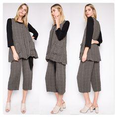5e9cd1f893b #Et'lois USA #Artsy Women's Fashion & Style #Lagenlook #Plaid Tunic & Pant