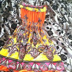 Orange And Yellow Strap Less Dress