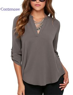 7b56b876d93 Roswear Women's Casual V Neck Cuffed Sleeves Solid Chiffon Blouse Top Grey  Large