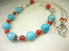 Turquoise Carnelian Gemstone Sterling Silver Beaded by sofoola, $40.00