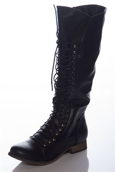 Vicious Victory Tall Lace Up Combat Boots - Black from Breckelles at Lucky 21