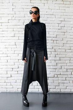 Loose Casual Drop Crotch Harem Pants / Decorative by Metamorphoza