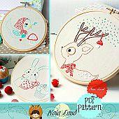 Deer, Bird & Bunny Embroidery Pattern