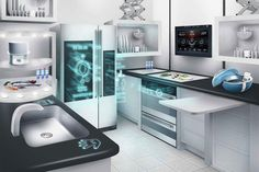 Interior, : Incredible Future Kitchen Technology With High Tech Quality In Design Ideas Futuristic Home, Futuristic Technology, Smart Kitchen, Buy Kitchen, Awesome Kitchen, Beautiful Kitchen, Cheap Kitchen, Küchen Design, Home Design