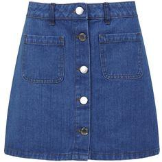 Miss Selfridge Mid Wash Denim Mini Skirt ($49) ❤ liked on Polyvore featuring skirts, mini skirts, bottoms, clothes - skirts, mid wash denim, miss selfridge, denim miniskirt, denim skirt, short skirts and blue skirt