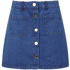 Miss Selfridge Mid Wash Denim Mini Skirt ($26) ❤ liked on Polyvore featuring skirts, mini skirts, bottoms, clothes - skirts, denim skirt, mid wash denim, mini skirt, blue denim skirt, blue skirt and short denim skirts