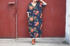 Oversized dress /linen kaftan dress/ African Peony printing dress/linen maxi dress/plus size loose causal dress