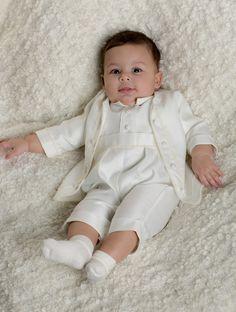 b8ee29138 Baby boys ivory christening romper suit - Zakariyah