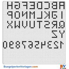 Alphabet Bügelperlen Vorlage. Auf buegelperlenvorlagen.com kannst du eine große Auswahl an Bügelperlen Vorlagen in PDF Format kostenlos herunterladen und ausdrucken.