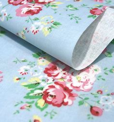 25 Discount  Cotton Fabric Shabby Roses  Mint Blue  by landofoh, $9.71