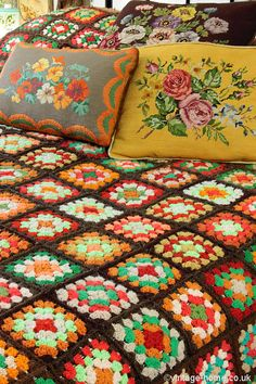 Warm and Cosy Vintage Bedroom; Colourful Patchwork Crochet Throw and Cushions. www.vintage-home.co.uk