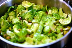 Sauteed Brussels Sprouts with Pistachios and lemon. Why am I staying up late to sit in my pjs and look at pictures of food?