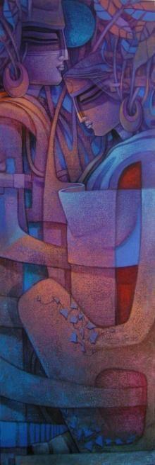 Blue-Violet Acrylic Painting by Nityam Singharoy on Canvas, Figurative based on theme My Artwork. Nityam Singha Roy Artworks.
