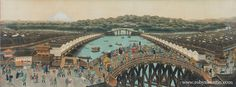 "View from the Bridge of Tokio. period on silk, mounted on paper. Shown in the ""The Countries of the World"" by Dr. Edo Period, Countries Of The World, Asian Art, Paris Skyline, City Photo, Tokyo, Bridge, Japanese, Watercolor"