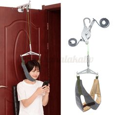 Over Door Hanging Neck Cervical Traction Device Stretch Gear Brace Complete  #meco Stiff Neck Remedies, Back Pain Remedies, Neck And Back Pain, Neck Pain, Neck And Back Massager, Back Stretcher, Neck Massage, Ways To Relax, Braces