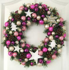 Türkranz Weihnachten rosa weiß lila 33cm Kugelkranz Kranz Stern Weihnachtskranz