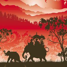"""Indian Elephants and monkeys"" Fine Art Print by Lara Allport."