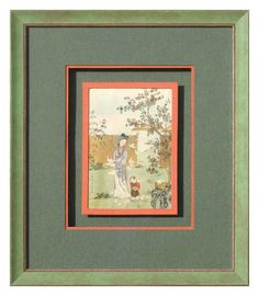 Chinoiserie Image surrounded by an orange mini pass raised on a green background Gallery Wall Frames, Frames On Wall, Framed Wall Art, Wall Art Prints, Framing Canvas Art, Frames For Canvas Paintings, Chinoiserie, Cadre Design, Art Encadrée