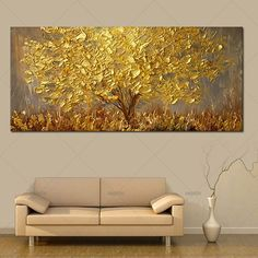 Hand Painted Knife Gold Tree Oil Painting On Canvas Large Palette Paintings For Living Room Modern Abstract Wall Art Pictures - canvas painting - Oil Painting Abstract, Abstract Wall Art, Hand Painting Art, Acrylic Paintings, Knife Painting, Large Painting, Tree Wall Painting, Moon Painting, Artist Painting